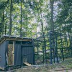 chicken coop in landscape